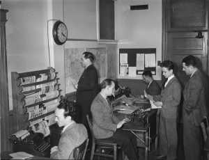 Journalists in the Radio-Canada/CBC newsroom in Montreal, Canada. 1944 (Conrad Poirier)