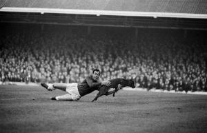 Gordon Banks, entonces portero del Leicester para un perro en mitad de un partido en 1965