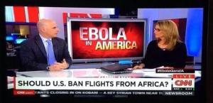 """""""Debería EE.UU. prohibir los vuelos desde África"""", ayer en el plató de la CNN desde mi televisor."""