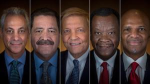 """El actual alcalde de Chicago, Rahm Emanuel, y sus rivales, Jesus """"Chuy"""" Garcia, Comisionado del Condado de Cook, Bob Fioretti, concejal de distrito y los empresarios Willie Wilson, William """"Dock"""" Walls. (Brian Cassella, Chicago Tribune)"""