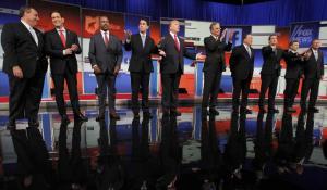Los 10 candidatos del GOP que participaron ayer en el debate de